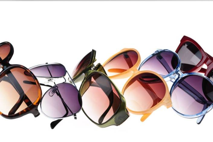 various colorful sunglasses row